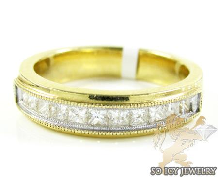 14k Yellow Gold Princess Diamond Wedding Band 1.30ct
