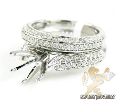14k White Gold Diamond Semi Mount Ring & Wedding Band Set 1.00ct