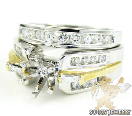 14k White & Yellow Gold Diamond Semi Mount Ring & Wedding Band Set 1.50ct