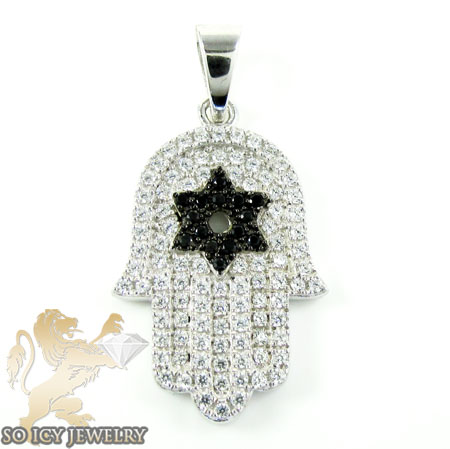Sterling Silver White & Black Cz Star Of David Hamsa Pendant 1.50ct