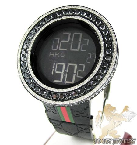 Mens full diamond case & bezel igucci digital watch 14.00ct