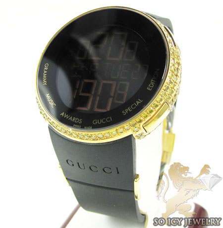 Mens Full Diamond Case iGucci Digital Grammy Edition Watch 5.00CT
