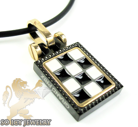 Mens Baraka 18k Gold & Black Stainless Steel Checkered Grand Prix Pendant