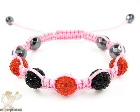 Black & red  rhinestone macramé faceted bead rope bracelet 5.00ct