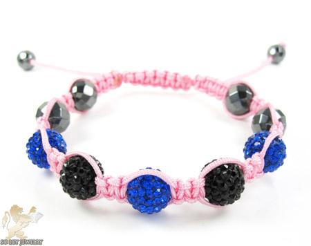 Black & blue rhinestone macramé faceted bead rope bracelet 5.00ct