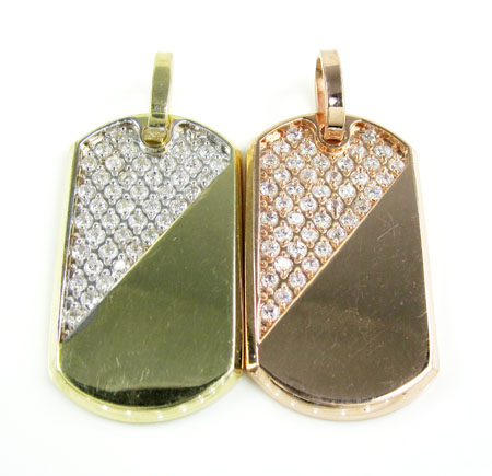 Unisex 10k gold cz dog tag pendant