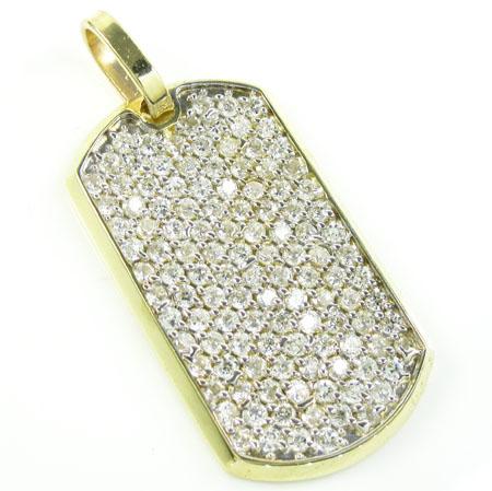 Unisex 10k gold cz dog tag pendant