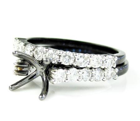 Ladies 10k black gold white & black diamond semi mount ring & wedding band set 1.06ct