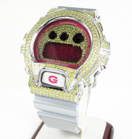 Mens canary cz dw-6900 white stainless steel g-shock watch 5.00ct