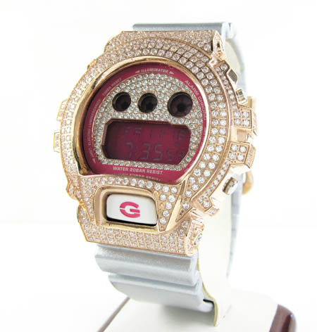 Mens White Cz Dw-6900 Rose Stainless Steel G-shock Watch 5.00ct