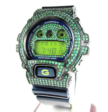 Mens green cz dw-6900 black stainless steel g-shock watch 5.00ct