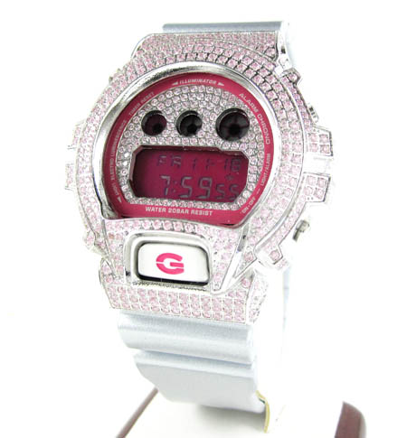 Mens Pink Cz Dw-6900 White Stainless Steel G-shock Watch 5.00ct