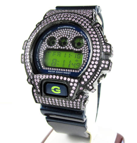 Mens pink cz dw-6900 black stainless steel g-shock watch 5.00ct