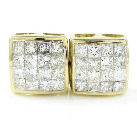 14K Yellow Gold Princess Diamond Studs 0.75CT