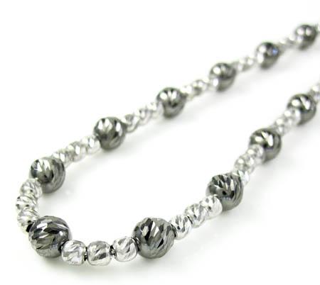 925 black & white sterling silver diamond cut bead chain 22 inch 4.75mm