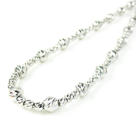 925 white sterling silver diamond cut bead chain 22 inch 4.75mm