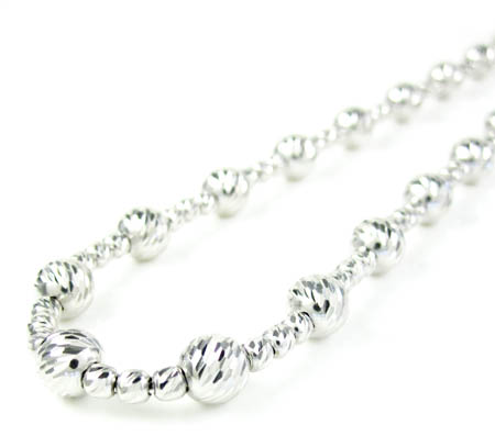 925 white sterling silver diamond cut bead chain 22 inch 5.75mm