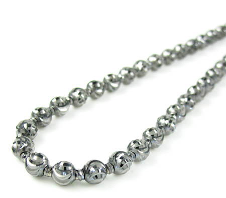 14k black gold diamond cut bead chain 22 inch 4mm