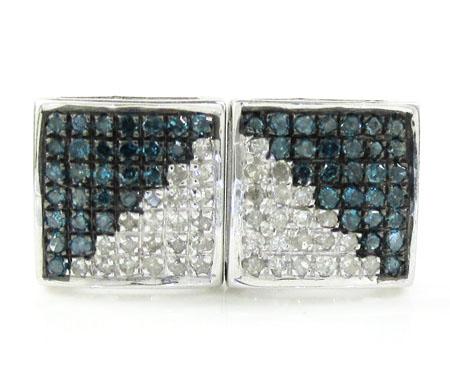 925 White Sterling Silver White & Blue Diamond Earrings 0.75CT
