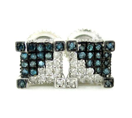 925 White Sterling Silver White & Blue Diamond Earrings 0.35ct