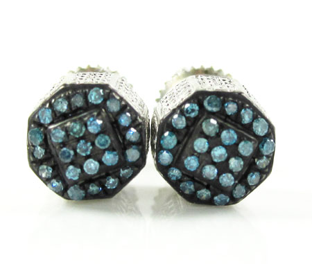 925 white sterling silver blue diamond earrings 0.35ct