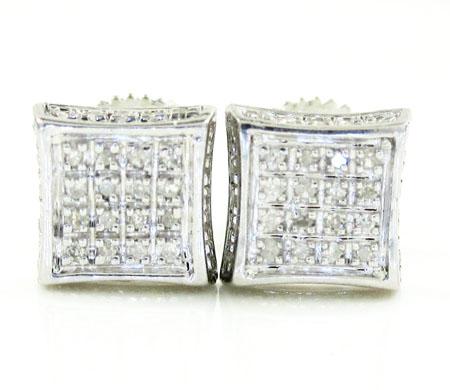 925 white sterling silver white diamond earrings 0.20ct