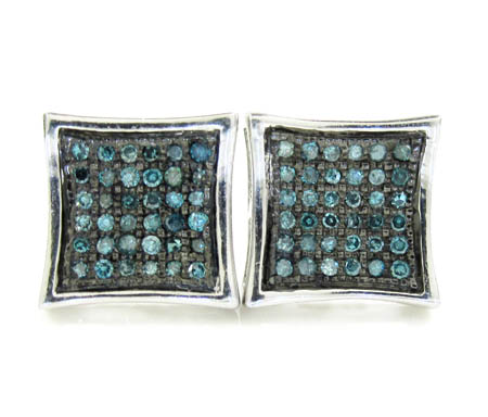925 White Sterling Silver Blue Diamond Earrings 0.50CT