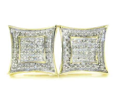 925 Yellow Sterling Silver White Diamond Earrings 0.25ct
