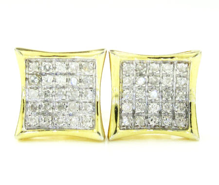 925 Yellow Sterling Silver White Diamond Earrings 0.30CT