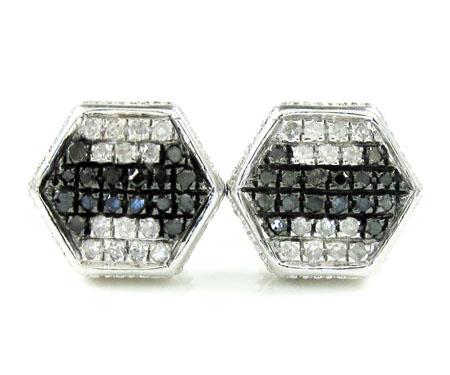 925 White Sterling Silver Black & White Diamond Earrings 0.35ct
