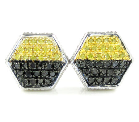 925 White Sterling Silver Canary & Black Diamond Earrings 0.30ct