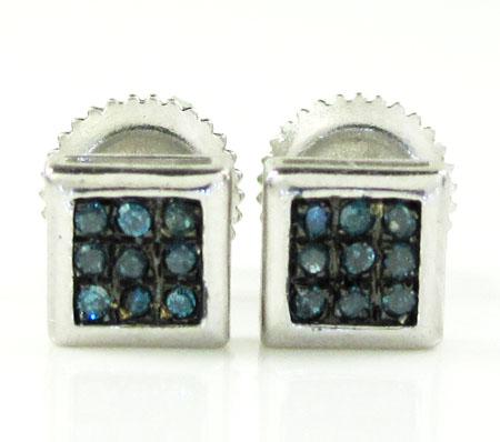925 White Sterling Silver Blue Diamond Earrings 0.10ct