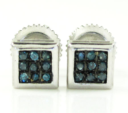 925 white sterling silver blue diamond earrings 0.10ct