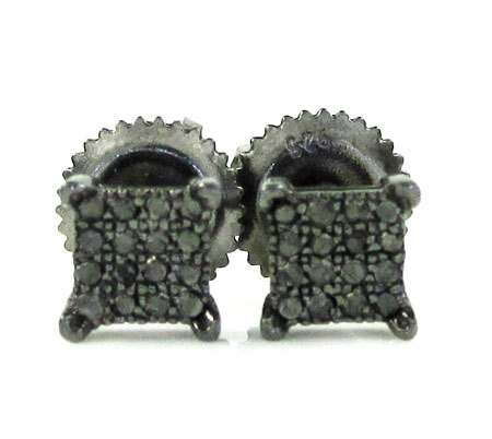 925 Black Sterling Silver Black Diamond Earrings 0.20ct