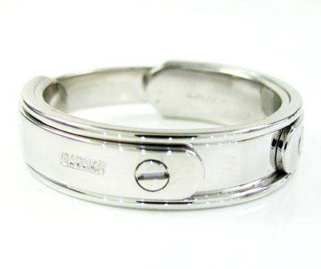 Mens baraka 18k white gold wedding band screw ring