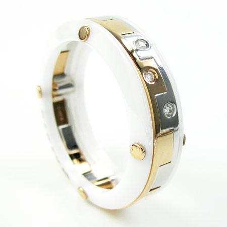 Mens baraka diamond 18k white & rose gold white ceramic wedding band screw ring 0.04ct