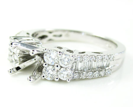 Ladies 18k White Gold Diamond Semi Mount Ring 0.86ct