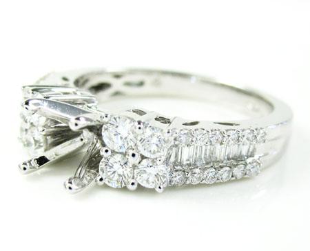 Ladies 18k White Gold Diamond Semi Mount Ring 0.86ct