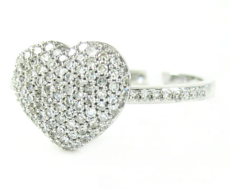 Ladies 10k White Gold Diamond Heart Ring 0.45ct