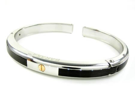 Mens baraka 18k rose gold & white stainless steel black rubber bracelet
