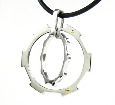 18k solid yellow gold & white fancy spinning pendant