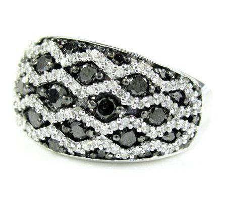 Ladies 14k white gold black & white diamond cocktail ring 1.45ct