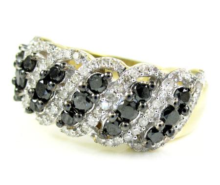 Ladies 14k yellow gold black & white diamond fashion ring 1.15ct