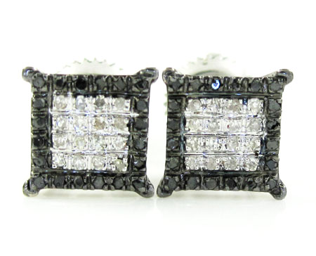 925 White Sterling Silver Black & White  Diamond Earrings 0.15ct