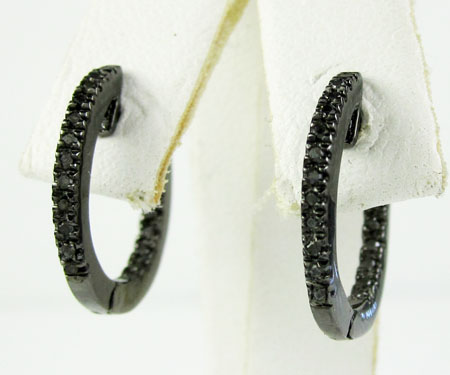925 Black Sterling Silver Black Diamond Hoops 0.20ct