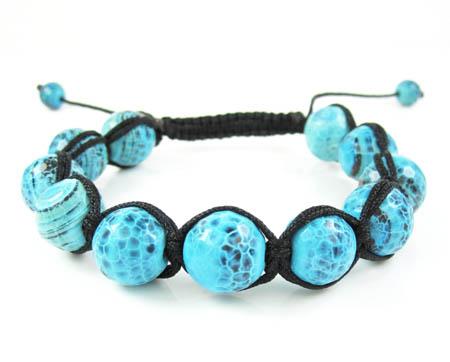 Turquoise blue onyx macramé smooth bead rope bracelet