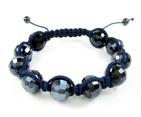 Blue Metallic Onyx Macramé Faceted Bead Rope Bracelet