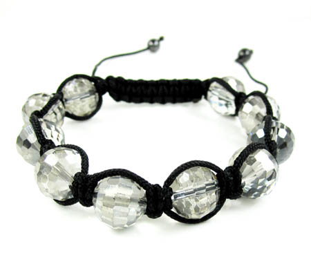 Transparent onyx macramé faceted bead rope bracelet