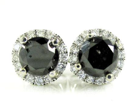 14k white gold black & white diamond halo earrings 1.35ct