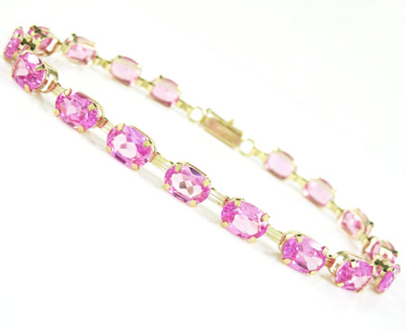 Ladies 10k Yellow Gold Pink Cz Oval Cut Bracelet